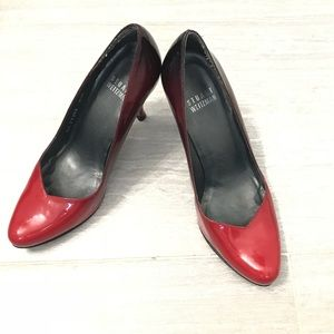 Stuart Weitzman Patent Leather Red Ombré Pumps